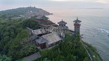 蓬莱阁航拍落日图片