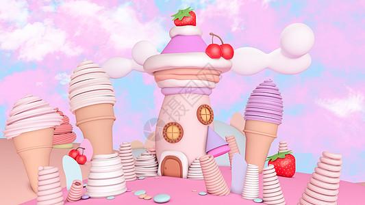 冰激凌梦幻甜美小屋创意图片