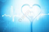 创意听诊器与心跳图片