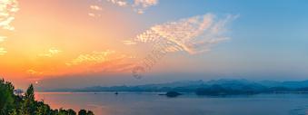 夕阳醉美千岛湖全景图图片