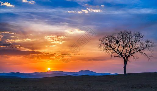 冬季的乌兰布统夕阳风光图片