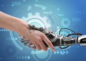 人与机器人握手图片