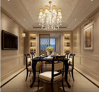 新古典餐厅室内设计效果图图片