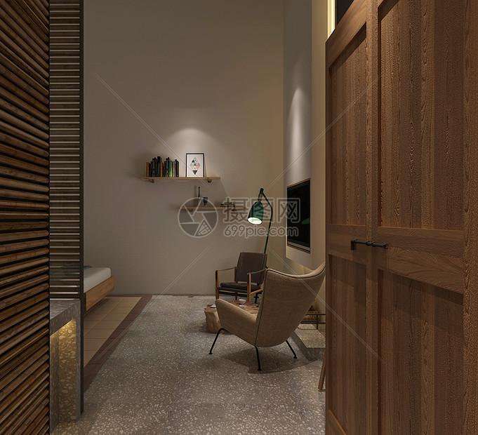 民宿风卧室室内设计效果图