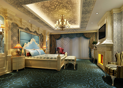 欧式豪华卧室效果图高清图片