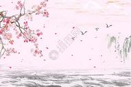 中国风水墨山水花鸟背景图片
