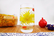 杯中冲泡的金丝皇菊花茶图片