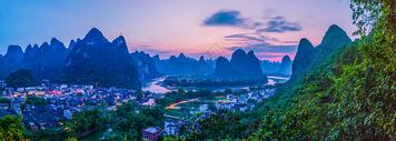 广西阳朔著名景点全景风光图片