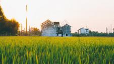 夕阳下的村庄与田野图片