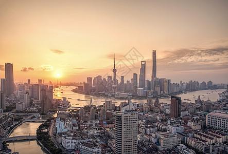 上海城市天际线日出图片