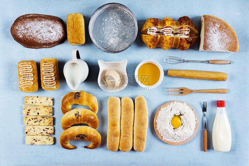 面包及制作食材图片
