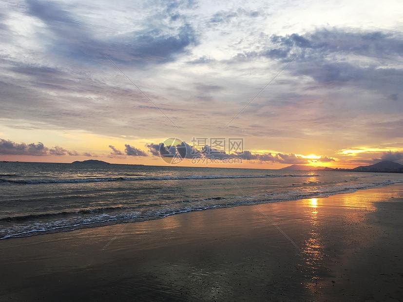 海南的海边日落图片