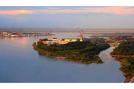 黑河中俄边境图片