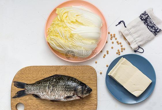 白菜豆腐鲫鱼食材图片