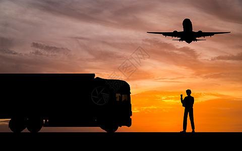 指挥货车前进员工剪影图片