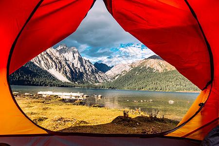 帐篷外的措普沟风景图片