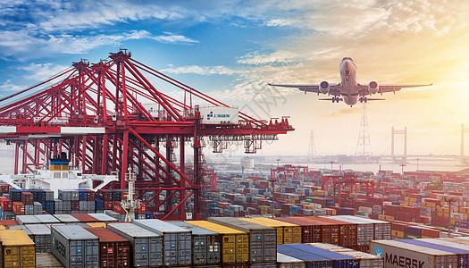 船舶港口与空中飞机图片图片