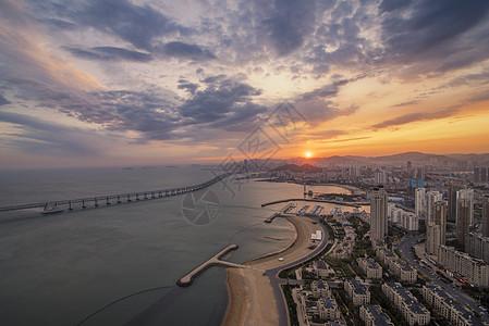 大连星海湾落日图片
