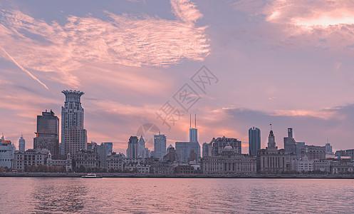 夕阳下的上海百年万国建筑图片