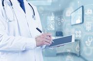 医生与未来医学概念按钮图片