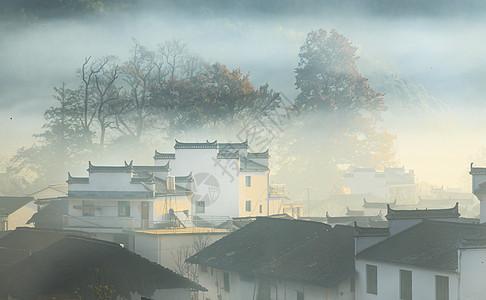 著名旅游景点婺源石城晨雾图片