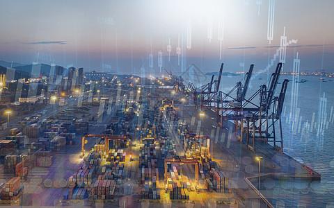 股票数据叠印石油平台图片图片