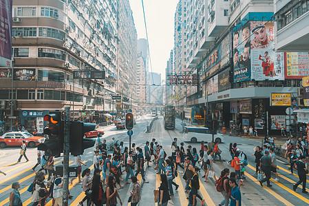 繁华香港街头的人流图片