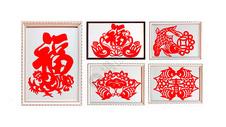 喜庆过年气氛的传统文化剪纸贴窗花图片