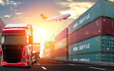 运输集装箱大货车图片