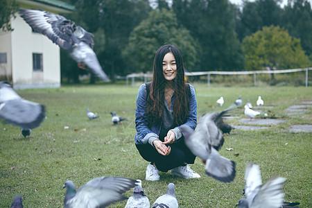 喂鸽子的女孩图片