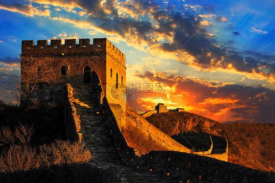 夕阳下的长城图片