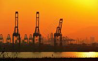 金色码头下的城市工业发展图片