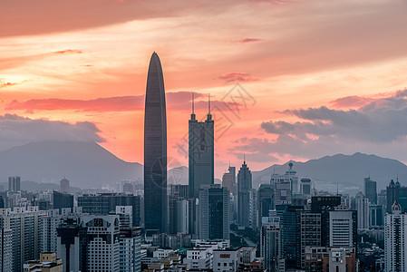 日落下的深圳罗湖地标建筑图片