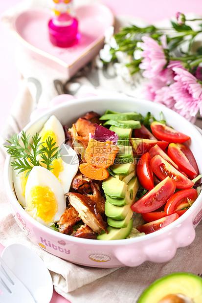 粉红少女系减脂水果蔬菜沙拉图片