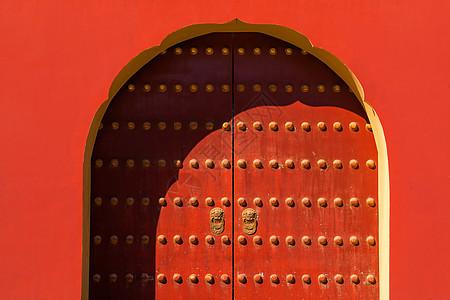 北京古建筑红色大门图片
