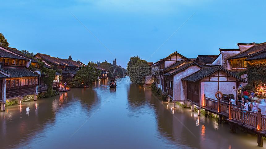 浙江乌镇美丽的夜色图片