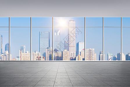 空旷的大窗户商务大楼背景图片