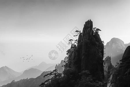 充满水墨画和中国风意境的黄山雾气图片