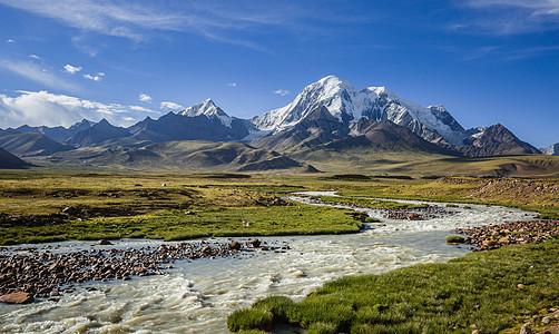 西藏高原上蜿蜒的河流与雪山图片
