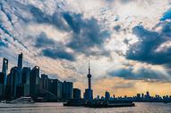 城市建筑日落图片