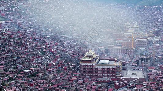 色达佛学院的晨雾图片