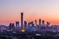 北京cbd日落美景图片