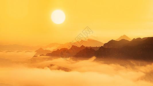 云海日出的山水风光图片