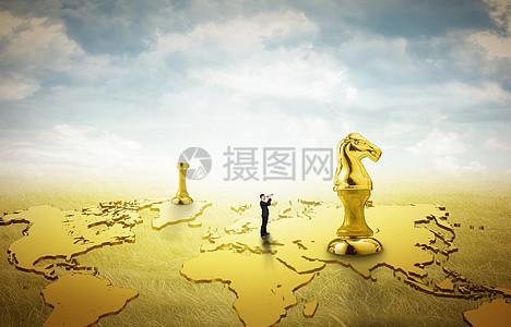 国际象棋上的人图片