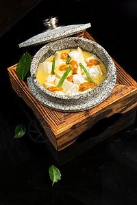 蟹膏石锅豆腐图片