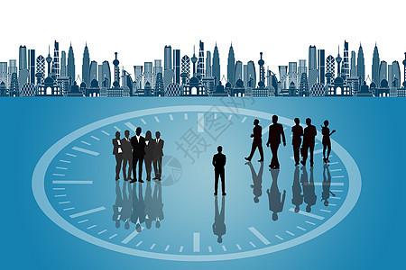 一群商务人士剪影背景图图片