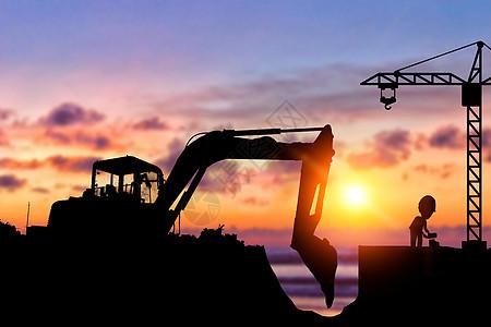 夕阳下工作的人图片
