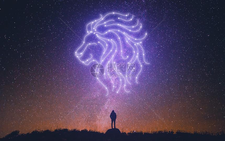 仰望星空狮子座背景