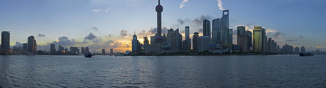 上海陆家嘴日落图片
