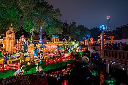 上海城隍庙豫园元宵灯会九曲桥图片